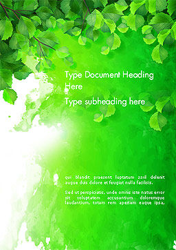 Watercolor Spot with Green Leaves Word Template Cover Page