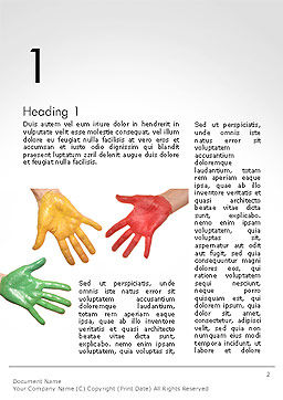Painted Hands Word Template, First Inner Page, 14149, Art & Entertainment — PoweredTemplate.com