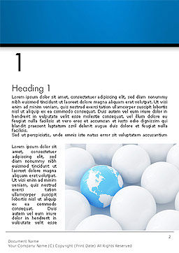 Globe in Among White Balls Word Template, First Inner Page, 14150, Global — PoweredTemplate.com