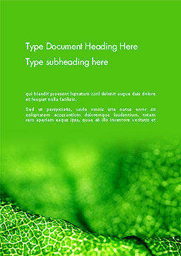 Green Leaf Texture Word Template Cover Page