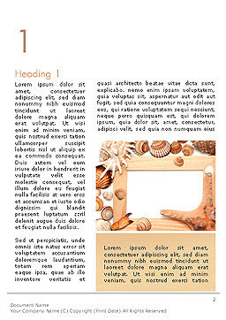 Sea Shells and Blank Frame Word Template First Inner Page