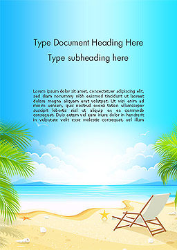 Sunny Beach Vacation Word Template Cover Page