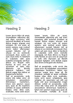 Sunny Beach Vacation Word Template Second Inner Page