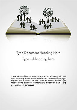 Clipart of Tree and People on Opened Book Word Template, Cover Page, 14173, Education & Training — PoweredTemplate.com