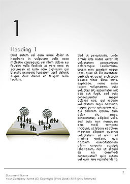 Clipart of Tree and People on Opened Book Word Template, First Inner Page, 14173, Education & Training — PoweredTemplate.com