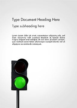 Green Railroad Traffic Light Word Template, Cover Page, 14177, Cars/Transportation — PoweredTemplate.com