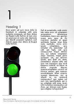 Green Railroad Traffic Light Word Template, First Inner Page, 14177, Cars/Transportation — PoweredTemplate.com