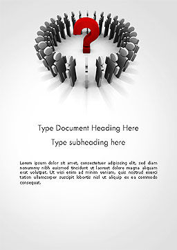 People Standing In Circle with Question Mark in Middle Word Template, Cover Page, 14184, Business Concepts — PoweredTemplate.com