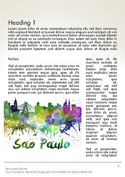 Sao Paulo Skyline in Watercolor Splatters Word Template, First Inner Page, 14198, Art & Entertainment — PoweredTemplate.com