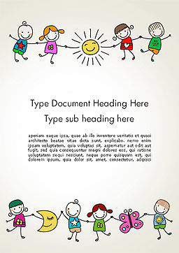 Childish Drawings Word Template Cover Page