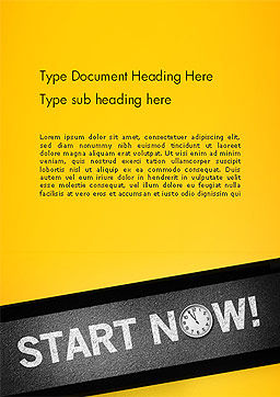 Start Now Word Template, Cover Page, 14204, Business Concepts — PoweredTemplate.com