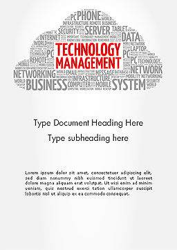 Technology Management Word Cloud Word Template Cover Page