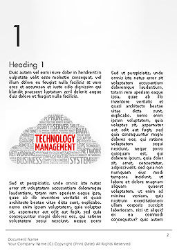 Technology Management Word Cloud Word Template First Inner Page