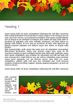 Falling Leaves Border Frame Word Template First Inner Page