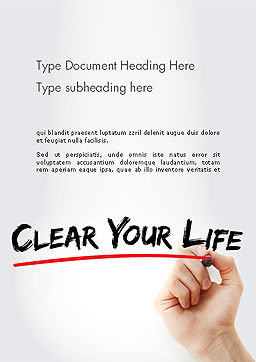 Hand Writing Clear Your Life with Marker Word Template, Cover Page, 14211, Business Concepts — PoweredTemplate.com