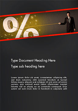 Businessman Pilling Percent Sign Word Template, Cover Page, 14212, Financial/Accounting — PoweredTemplate.com