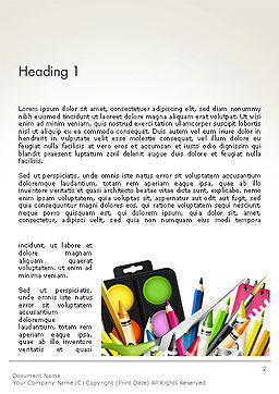 School Background with School Supplies Word Template, First Inner Page, 14213, Education & Training — PoweredTemplate.com