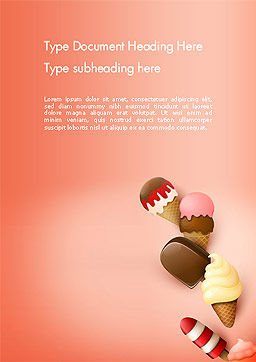 Ice Cream Madness Word Template, Cover Page, 14217, Food & Beverage — PoweredTemplate.com