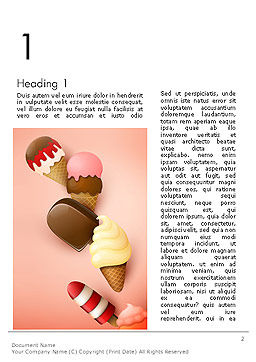 Ice Cream Madness Word Template, First Inner Page, 14217, Food & Beverage — PoweredTemplate.com