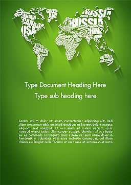 World Map in Word Cloud Word Template Cover Page