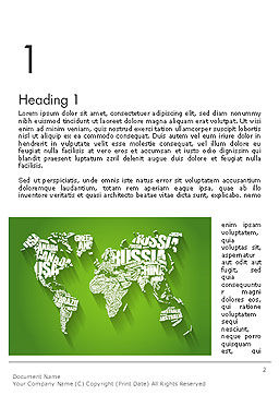 World Map in Word Cloud Word Template First Inner Page