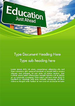 Education Just Ahead Green Road Sign Word Template Cover Page