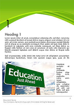 Education Just Ahead Green Road Sign Word Template First Inner Page