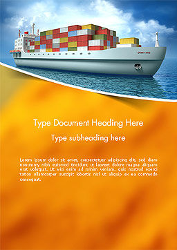 Sea Freight Word Template, Cover Page, 14225, Cars/Transportation — PoweredTemplate.com