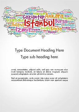 Turkish Cities Word Cloud Word Template, Cover Page, 14228, Flags/International — PoweredTemplate.com