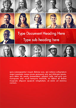 Happy and Smiling Diverse People Word Template, Cover Page, 14230, People — PoweredTemplate.com
