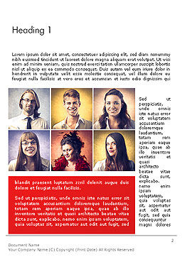 Happy and Smiling Diverse People Word Template, First Inner Page, 14230, People — PoweredTemplate.com