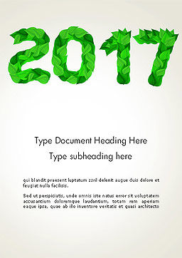 Year 2017 Made from Green Leaves Word Template, Cover Page, 14241, Nature & Environment — PoweredTemplate.com