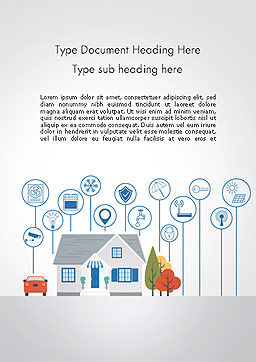 Smart House Word Template, Cover Page, 14243, 3D — PoweredTemplate.com