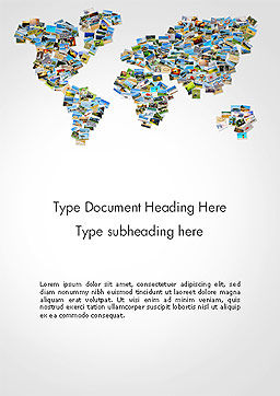 Photos Placed as World Map Shape Word Template Cover Page