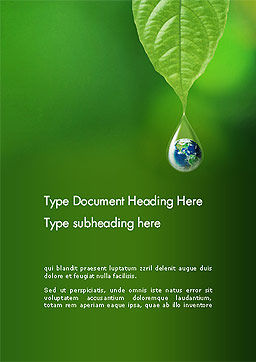 Planet Earth Dew Drop  Word Template Cover Page