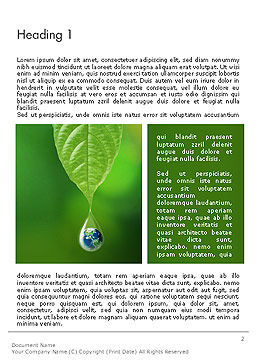 Planet Earth Dew Drop  Word Template First Inner Page