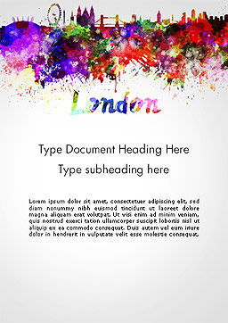 London Skyline in Watercolor Splatters Word Template Cover Page