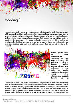 London Skyline in Watercolor Splatters Word Template First Inner Page