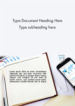 Table with Notebook Smartphone and Reports Word Template, Cover Page, 14252, Business — PoweredTemplate.com