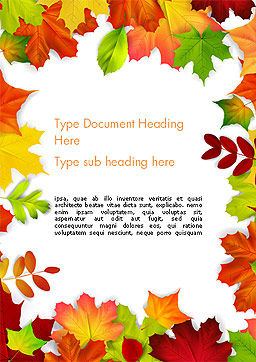 Fall Leaves Border Frame Word Template, Cover Page, 14255, Nature & Environment — PoweredTemplate.com