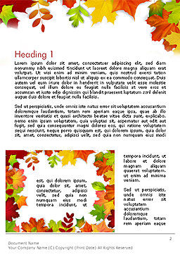 Fall Leaves Border Frame Word Template, First Inner Page, 14255, Nature & Environment — PoweredTemplate.com