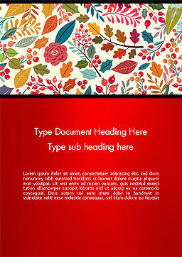 Colorful Leaf and Berry Pattern Word Template, Cover Page, 14270, Nature & Environment — PoweredTemplate.com