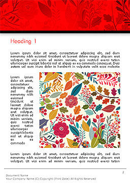 Colorful Leaf and Berry Pattern Word Template, First Inner Page, 14270, Nature & Environment — PoweredTemplate.com
