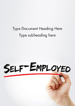 Hand Writing Self-Emplyed with Marker Word template Cover Page