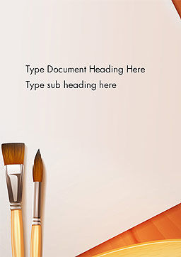 Wide and Thin Paintbrushes Word Template Cover Page