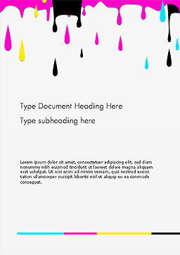 CMYK Ink Color Paint Word Template Cover Page