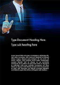 Businessman Pressing Virtual Buttons Word Template, Cover Page, 14283, Business Concepts — PoweredTemplate.com