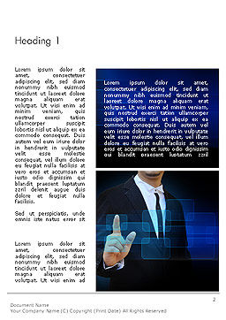 Businessman Pressing Virtual Buttons Word Template, First Inner Page, 14283, Business Concepts — PoweredTemplate.com