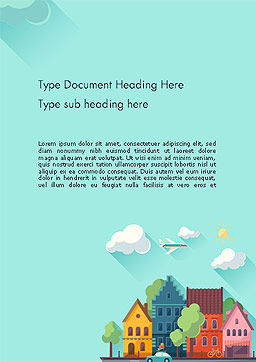 Town Illustration Word Template, Cover Page, 14286, Construction — PoweredTemplate.com