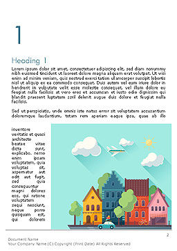 Town Illustration Word Template, First Inner Page, 14286, Construction — PoweredTemplate.com